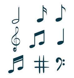 music notes set icons vector image