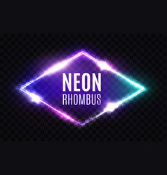 Night club neon rhomb 3d rhombus light sign vector