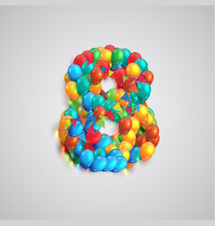 number made by colorful balloons vector image