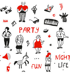 party seamless pattern in doodle style graphic vector image