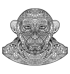 Patterned monkey head isolated on white background vector