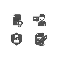 Person talk certificate and security agency icons vector