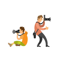 photographing people set photographer paparazzi vector image
