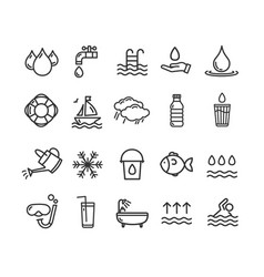 Pool and water signs black thin line icon set vector