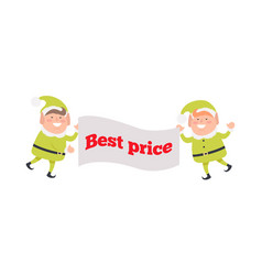 Poster best price held by elf on white background vector