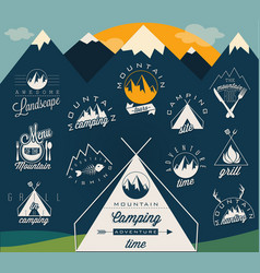 retro vintage style symbols for mountain expeditio vector image