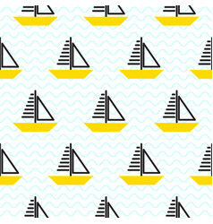 sailing ship seamless kid pattern in vector image