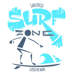san diego california surf zone catch the wave vector image