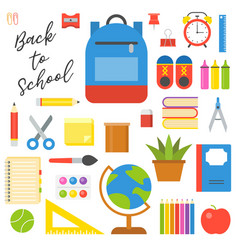 School supplies icon set in flat design for back vector