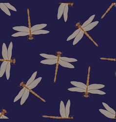 seamless pattern beige dragonflies on a dark blue vector image