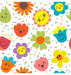 Seamless pattern with funny flowers Cute cartoon vector image