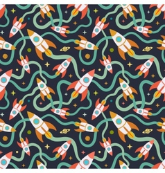 Seamless pattern with the cartoon rockets vector image