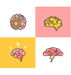 set brain conceptbrainstormingideacreativity vector image