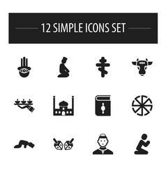 set of 12 editable religion icons includes vector image