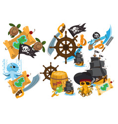 Set on the theme of pirates and marine vector