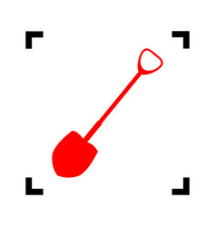 shovel to work in the garden red icon vector image