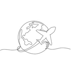 single one line drawing airplane fly through vector image