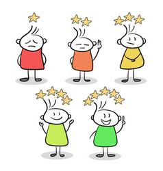 sketch of little people with stars of rating hand vector image
