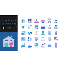 Stay home icons stay at home for quarantine vector