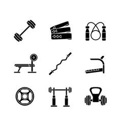 strength training black glyph icons set on white vector image