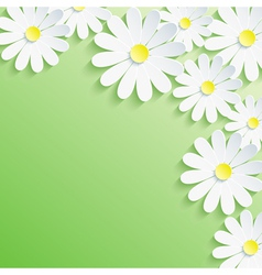 Summer background with 3d flower chamomile vector image
