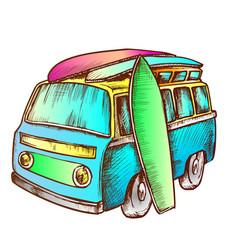 surf boards and retro surf van color vector image