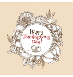 Thanksgiving sketch greeting card element vector
