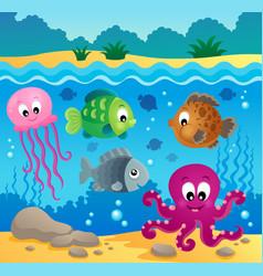 Underwater ocean fauna theme 1 vector