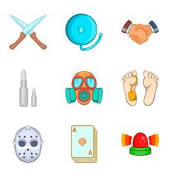 Unlawful act icons set cartoon style vector