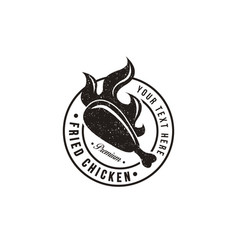 Vintage hipster retro emblem fried chicken logo vector
