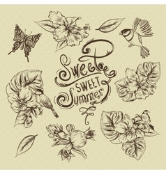 Vintage Monochrome Collection of Tropical Flowers vector image