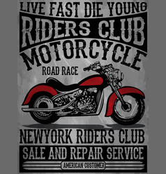 Vintage motorcycle hand drawn tee graphic design vector