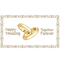 Wedding rings vintage golden frame vector
