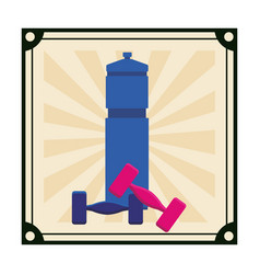 workout gym element cartoon vector image