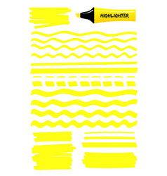Yellow lines and scribbles with highlighter pen vector