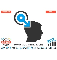 Brain Interface Plug-In Flat Icon With 2017 Bonus vector image vector image