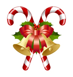 candy canes decorated with bells vector image