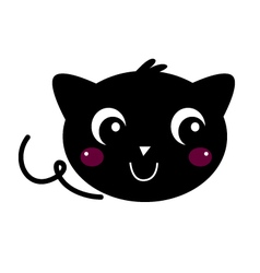 Cute beautiful Black Cat isolated on white vector image