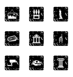Historical museum icons set grunge style vector image