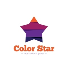 paper style multicolor star logo Flat vector image