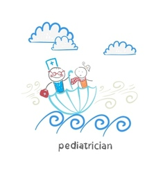 pediatrician with baby sitting in an umbrella and vector image vector image