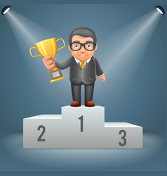 podium businessman hold prize win award in hand vector image vector image