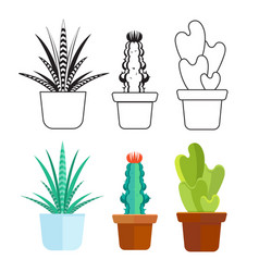 popular succulents line and cartoon set - home vector image vector image