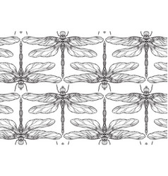 seamless black and white texture with dragonfly vector image vector image