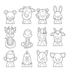 Twelve Animals Chinese Zodiac Signs Outline Set vector image vector image