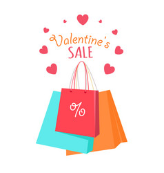 valentine s sale flat style concept vector image