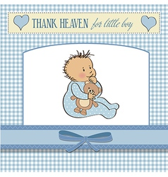 baby announcement card with little boy vector image vector image