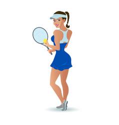 beautiful cartoon woman tennis player vector image