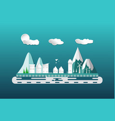 city flat scene design with building apartment vector image