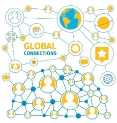 connections global line vector image